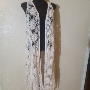 Sweaters - Large croched lace look vest